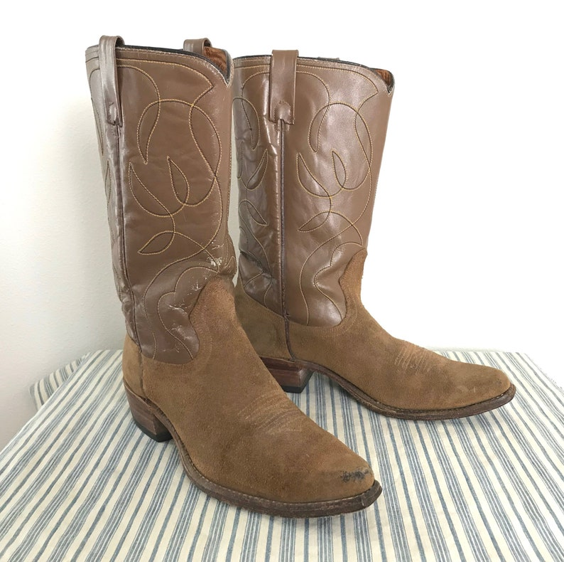 870955c8232 Vintage ACME Suede Roughout Cowboy Boots ~ 9 1/2 B ~ Western ~ Made in USA  ~ 9.5