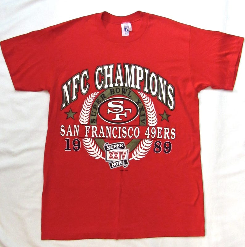 new concept 80026 eeeec Vintage 1980s San Francisco 49ers T-Shirt ~ Fits M ~ Logo 7 ~ soft thin  50/50 ~ 1989 ~ Super Bowl XXIV ~ Joe Montana ~ Jerry Rice