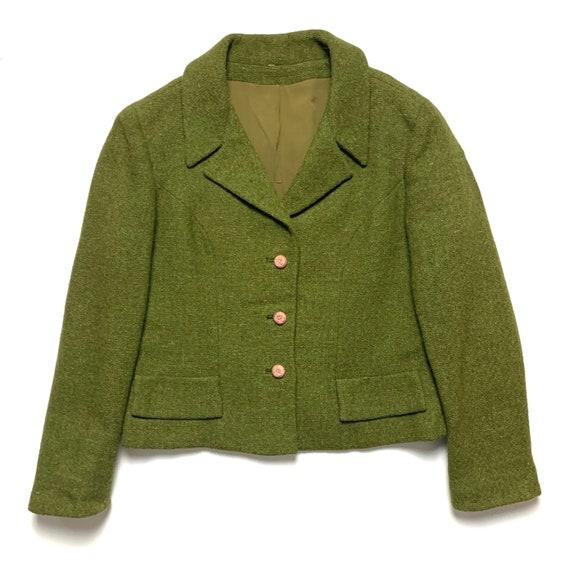 Vintage 1950s Women's Cropped Wool TWEED Jacket ~