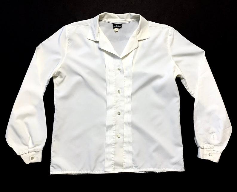 Vintage Women/'s Button-Up Shirt ~ size M to L ~ Basic  Minimalist ~ Blouse ~ Tuxedo  Tux ~ Ann Chabrol