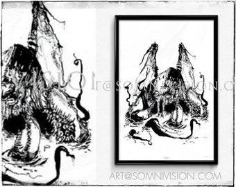 Cthulhu Art Print Giclée Poster, ink, artwork, octopus, monster