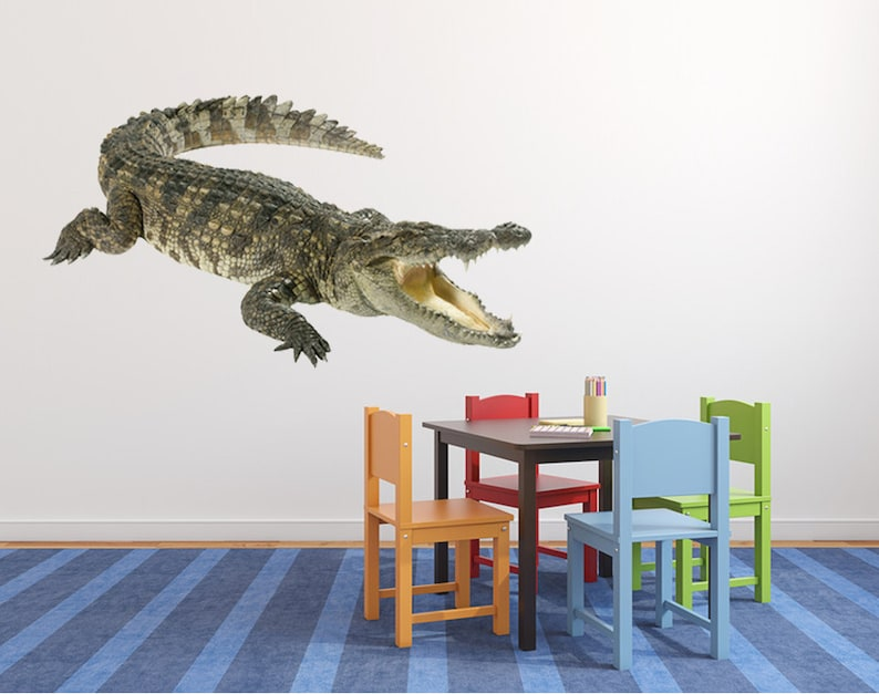 FL008 mural wall art Crocodile wall sticker nursery decor crocodiles wall decal removable vinyl wild animal alligator for room designs