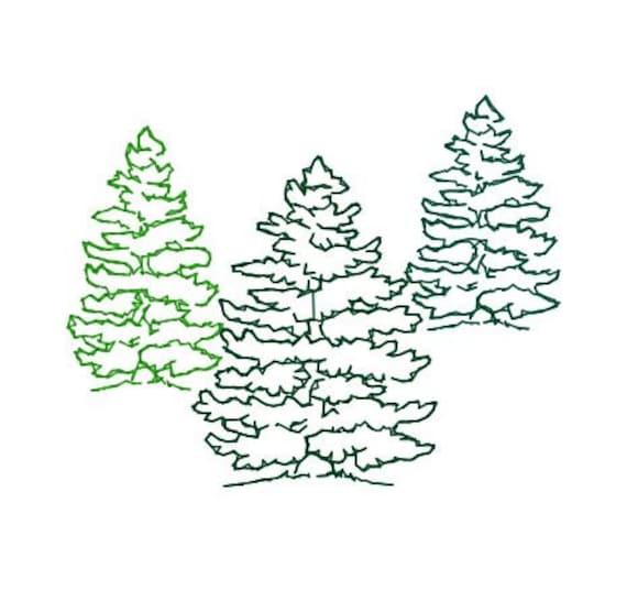 Embroidery Design Fir Tree Trio Outline Mountain Landscape ...