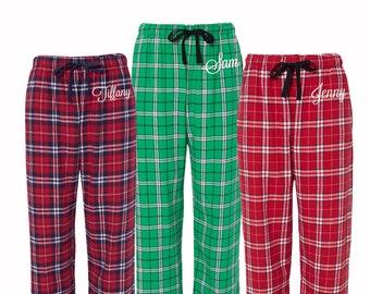 Personalized Christmas Pajamas, Flannel Pjs, Monogrammed flannel pajama pant, monogrammed pajamas, Custom monogram pajamas, holiday pjs
