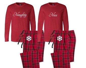 Naughty and nice flannel pj set christmas pajamas etsy
