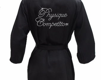 Physique Competitor Robe with Rhinestone Crystals - Physique Competition  Cover Up 588cf7f1c
