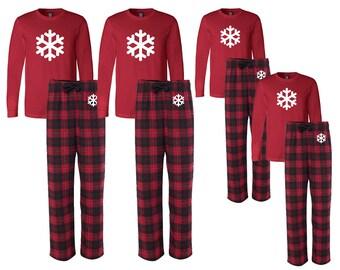 489a8eb116 Matching Flannel Snowflake Family Christmas Pajamas