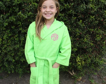 Monogrammed Kids Hooded Waffle Robe, Personalized Childrens Waffle Robe, Name and Initial Waffle Robe for Kids, Embroidered Kids Waffle robe