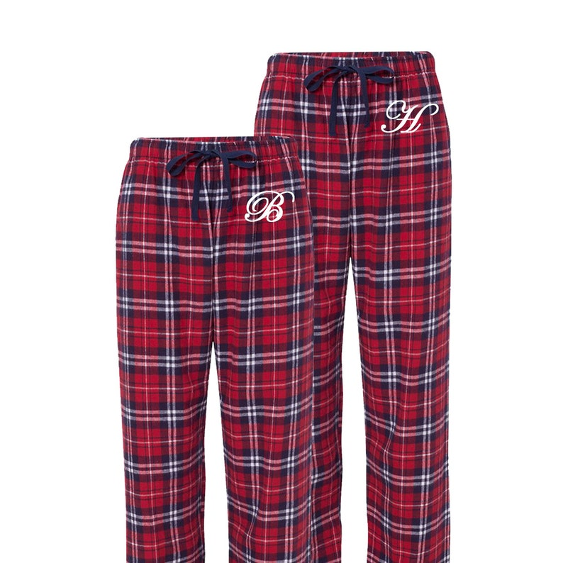 738aefd0d78f Matching Flannel Personalized Pajama Pants in red and navy