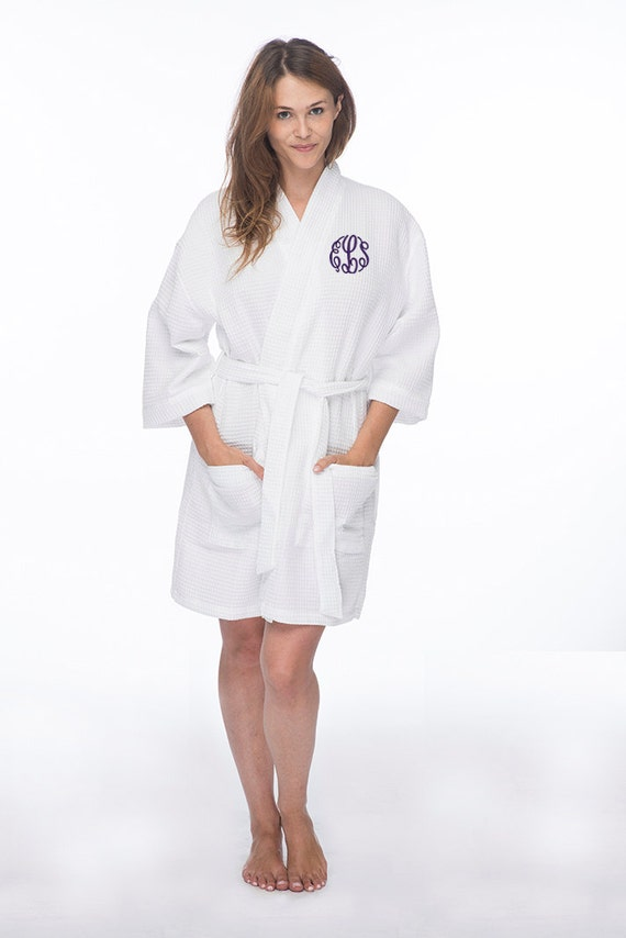 6ee2a1775e Monogrammed Waffle Robe with Initials Embroidered on the