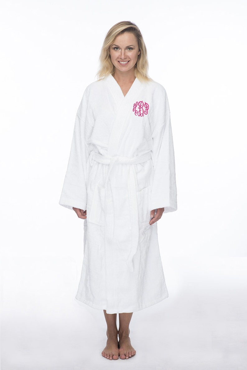 Monogrammed Long Terry Robe Personalized Terry Bath Robe  528518350