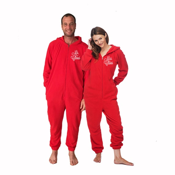 Christmas Pajamas Onesie.Mr And Mrs Claus Red Fleece Lounger Set Christmas Onesies For Adults Christmas Pajamas Holiday Pajamas Adult Onesies Adult Onesie