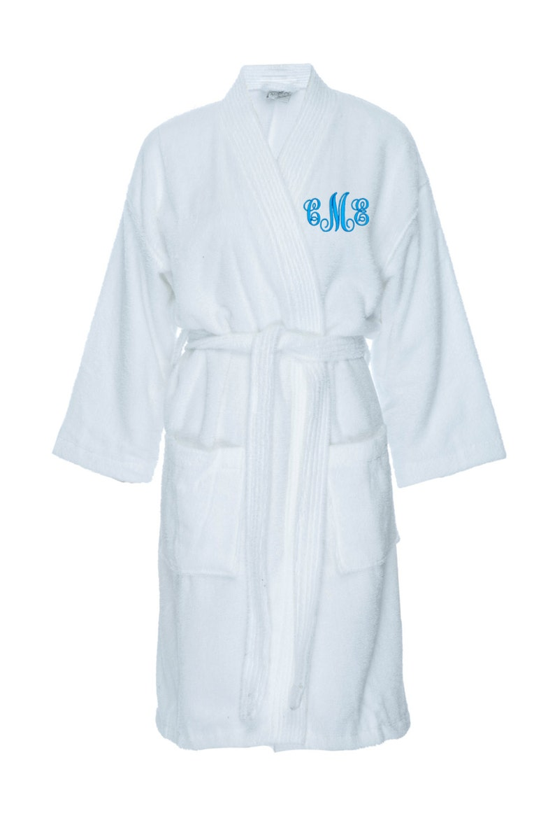 31cd6558abb Monogrammed Long Terry Robe, Personalized Terry Bath Robe, Custom Terry  Cloth Spa Robe, Monogrammed bath robe
