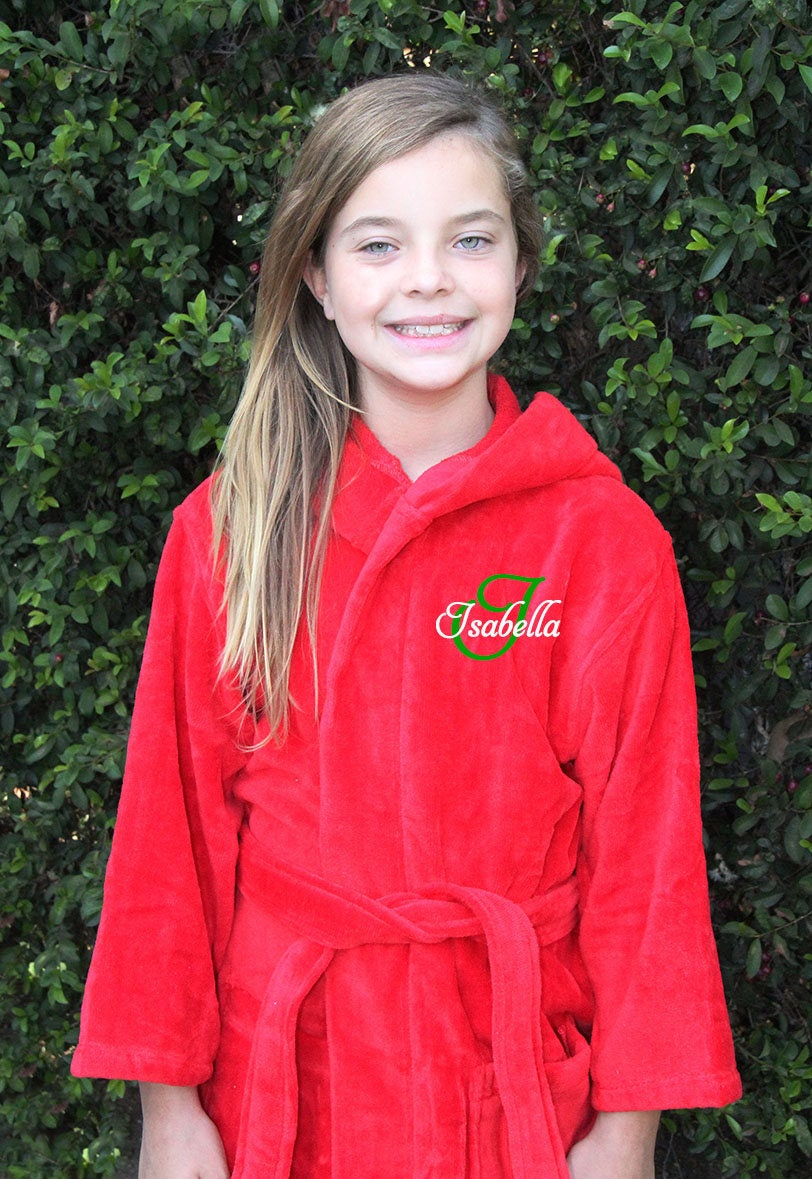 Monogrammed Kids Hooded Velour Robe Personalized Childrens  d76bbd2b5