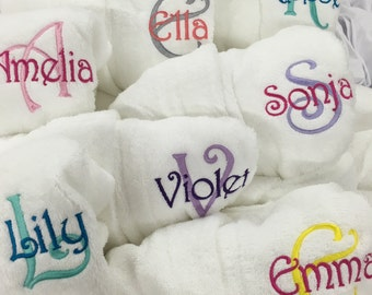 Monogrammed Kids Hooded Terry Robe, Personalized Childrens TerryBath Robe, Name and Initial Terry Robe for Kids, Embroidered Kids Terry Robe