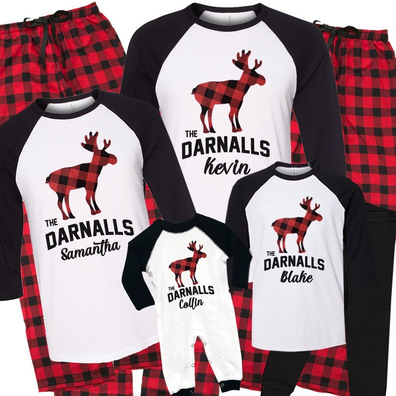 9dce87d4a Personalized Christmas Moose Matching Family Pajamas