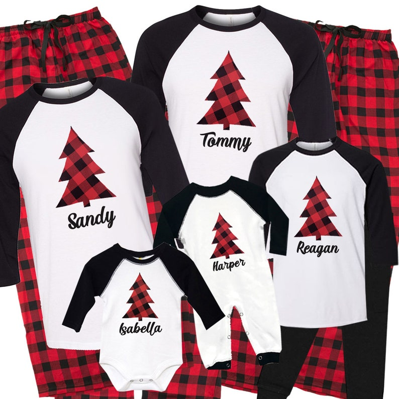 027537d9f Personalized Christmas Tree Matching Family Pajamas