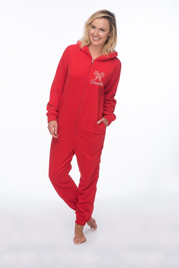 Christmas Pajamas Onesie.Personalized Candy Cane Fleece Onesie Christmas Onesies For Adults Adult Candy Cane Pajamas Christmas Pajamas Holiday Pajamas Adult