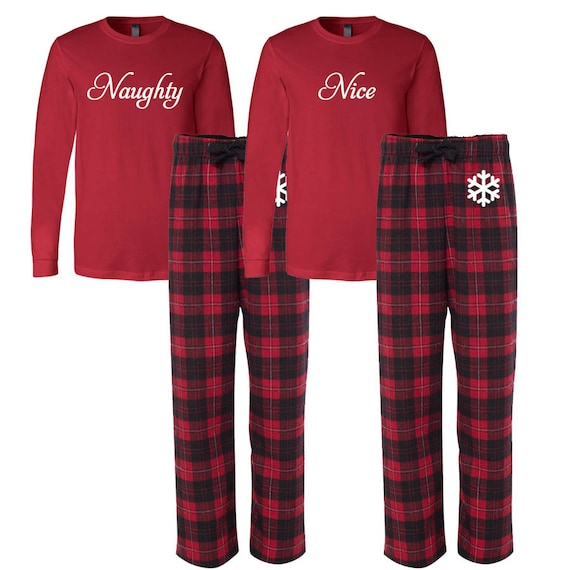 b3c9c70ea249 Naughty and Nice Flannel Pj set Christmas Pajamas