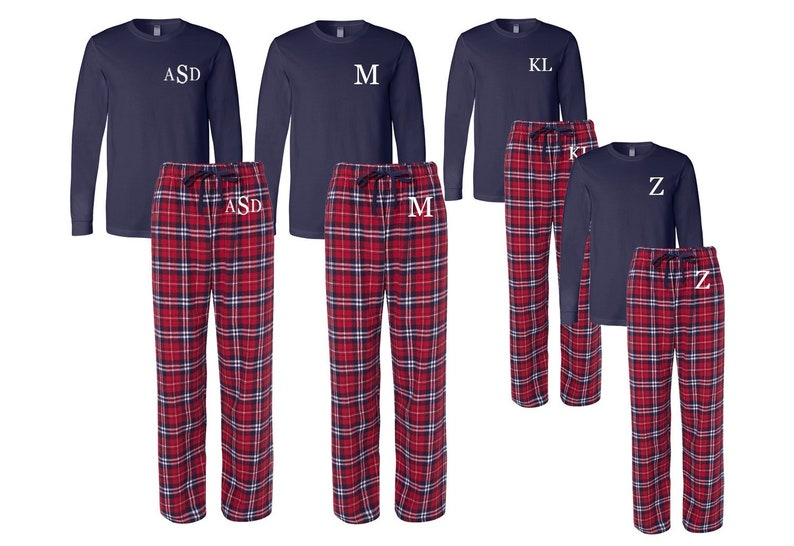 723e3d6249bd Monogrammed Family Matching Flannel Christma Pajamas
