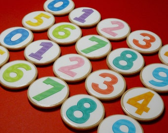Wooden number magnets - magnetic numbers - set of 20 number magnets 0 to 9 - home school resource - teacher resource - educational toy