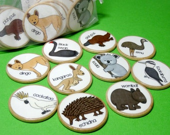 Australian animals wooden memory game, memory match game, wooden toy, montessori wooden game, teacher resource, home schooling game