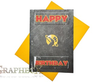 Fan-made the Hitchhiker's Guide to the Galaxy inspired personalized birthday card