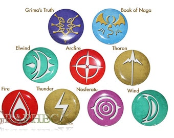 Fan-made Fire Emblem Robin Thunder Fire Wind Thoron cosplay inspired personalized buttons