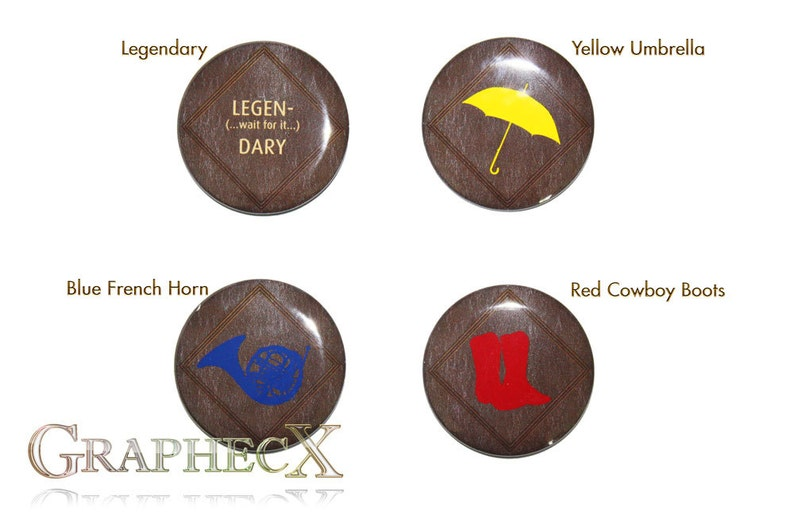 Fan-made  How I met your Mother cosplay inspired personalized buttons