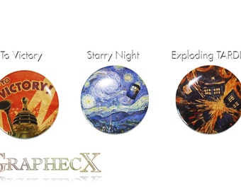Fan-made Doctor Who Dalek to victory, starry night, exploding TARDIS cosplay inspired personalized buttons