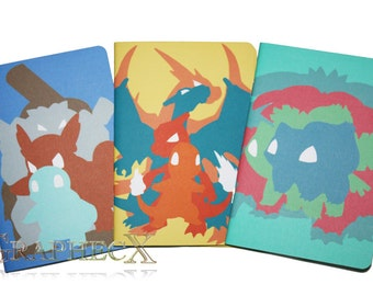 Fan-made Pokemon Charmander Squirtle Bulbasaur inspired personalized journal notebook