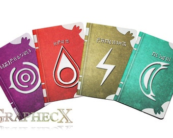 Fan-made Fire Emblem Spell Tomes Fire Thunder Nosferatu Wind Robin inspired personalized journal notebook