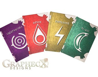 Fan-made Fire Emblem Spell Tomes Fire Thunder Nosferatu Wind Robin inspired personalized hardcover journal notebook