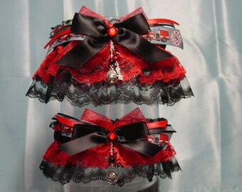 Firefighters Black and Red Garter Set