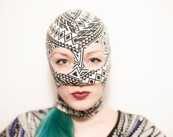 Black & White tribal pattern lucha mask