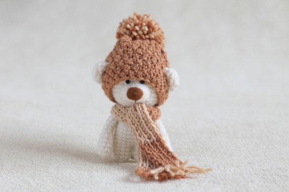 crochet amigurumi teddy bear in the scarf and hat small etsy