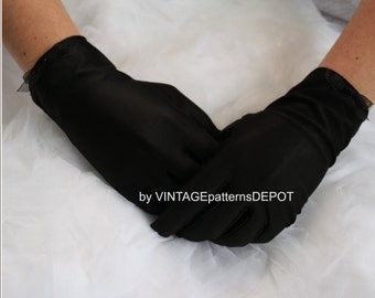 75d7489fbc95b6 Women s Black Gloves satin wrist gloves  full-fingered gloves for Brides