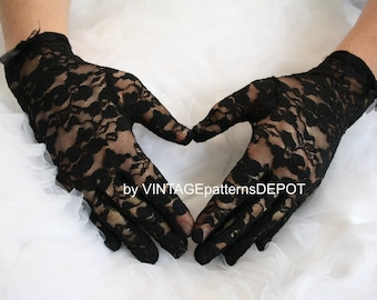 11d26f2824 Black Lace Gloves Womens Bridal, Formal, Prom, Bridesmaids, Black and White  Wedding Accessories at VINTAGEpatternsDEPOT at Etsy
