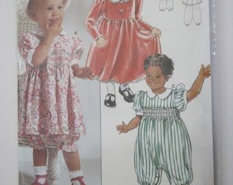 939e47beb7a0 Baby Smocked Dress Pattern and Romper and Panties Sizes 3-6-9-12 months,  UNCUT Burda 4349
