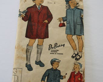Vintage 1940s Child's Coat Pattern Boy /Girl clothes,  DuBarry 5570 Size 4 Breast 23, button front coat single breasted, fly front coat