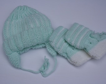 7ef118943ec Knitted Baby Hat and Booties