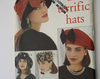 b5a41452 7 Hat Patterns for women fedoras or beret or pill box or cap styles, UNCUT  Butterick 6308 small med large head sizes 22 23 24