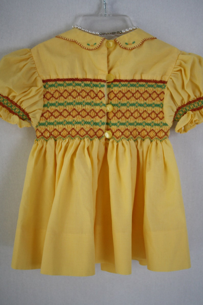 approx photos Smocked Dress Girls Vintage Handmade tea party Easter church dress Hand Smocked yellow gold dress 6 to 9 months size