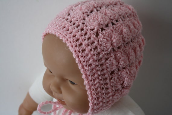 Newborn Baby girl Mittens hand made hand knit pale pink