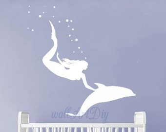 Mermaid wall decal Dolphin wall decal Nursery wall decals Wall decals for nursery Girl's room wall decal Under the sea wall stickers
