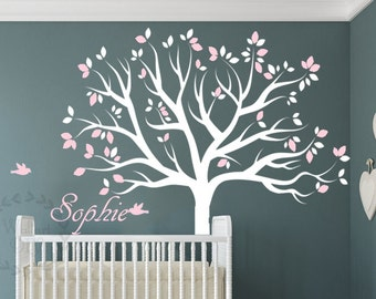 Nursery tree wall decals White tree wall sticker Nursery tree wall murals Vinyl name wall decal White and pink tree wall decal