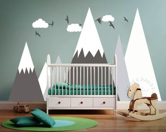 Mountains Wall Decal Kidu0027s Room Mountain Wall Decor Nursery Wall Sticker  Mountains Clouds And Birds Wall Decal Large Mountain Wall Mural