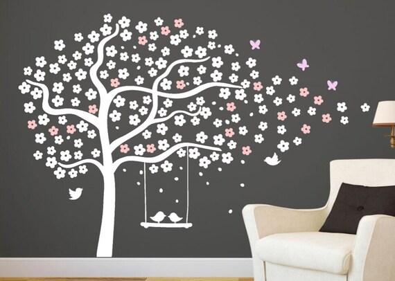 Albero parete adesivi vivaio ciliegio albero stencil albero etsy - Stencil parete albero ...