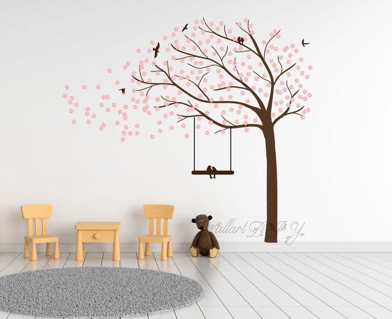 Große Kirschblüte Baum Wandtattoo Kinderzimmer Wand Aufkleber Baum Wand  Wandbilder Baum Wandtattoo für Kinderzimmer Wandtattoo Baum und Vögel