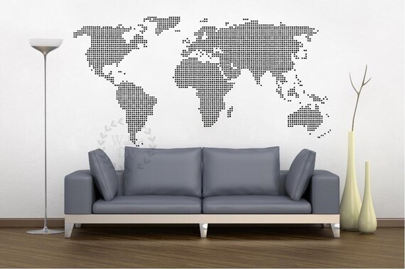 Giant world map wall decal map wall stencils abstract world gumiabroncs Choice Image